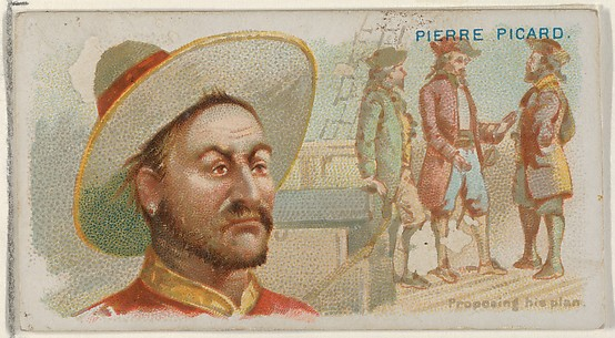 Pierre Picard, Proposing His Plan, from the Pirates of the Spanish Main series (N19) for Allen & Ginter Cigarettes