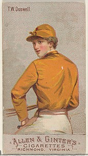 T.W. Doswell, from the Racing Colors of the World series (N22b) for Allen & Ginter Cigarettes