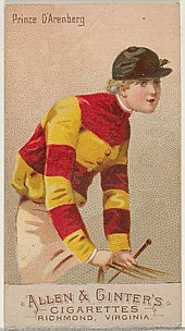 Prince D'Arenberg, from the Racing Colors of the World series (N22b) for Allen & Ginter Cigarettes