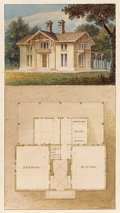 Design for a Cottage-Villa in the Bracketted Mode, Constructed in Wood (perspective and plan)