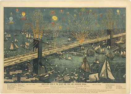 Bird's-Eye View of the Great New York and Brooklyn Bridge, and Grand Display of Fireworks on Opening Night...May 24, 1883