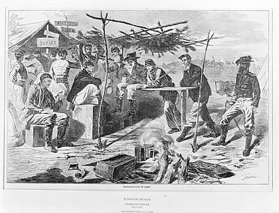 Thanksgiving in Camp (from Harper's Weekly, Vol. VII)