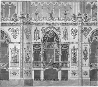 Elevation of the Royal Box for the Coronation of Louis XVIII,  Reims Cathedral