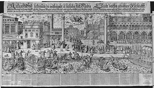 Procession of the Doge to the Bucintoro on Ascension Day, with a View of Venice, ca. 1565