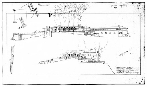 Francis W. Little House: East and South Elevations - Scheme 1 with alternate Scheme 2 details