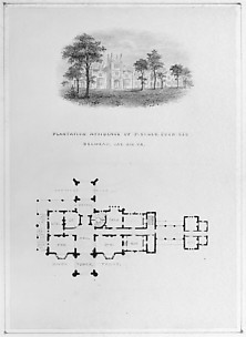 Belmead, James River, Virginia (vignette of riverside elevation and plan)