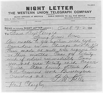 Night Letter: Francis W. Little to Frank Lloyd Wright, 8 October 1912 (copy)