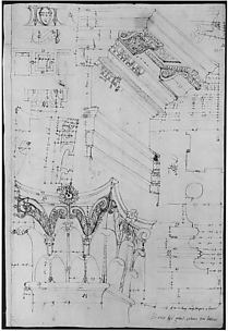 Pantheon, entablature and column pilaster capital, projection; rosette, details; capital profile; base, profile; pilaster, plan (recto) Pantheon, rectangular niche, perspective (verso)