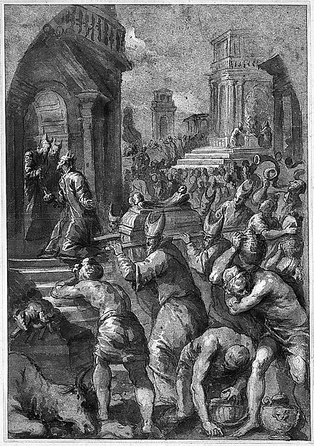 King Solomon Beholds the Ark of the Covenant Being Brought to the Temple