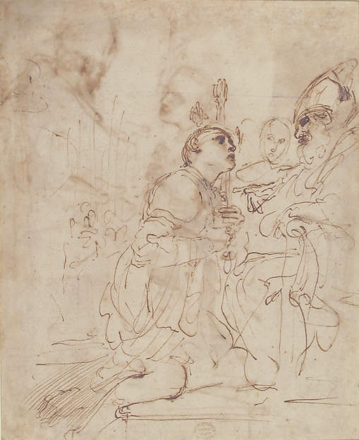 Youth Kneeling before a Prelate (recto); Another Study of a Youth Kneeling before a Prelate (verso)