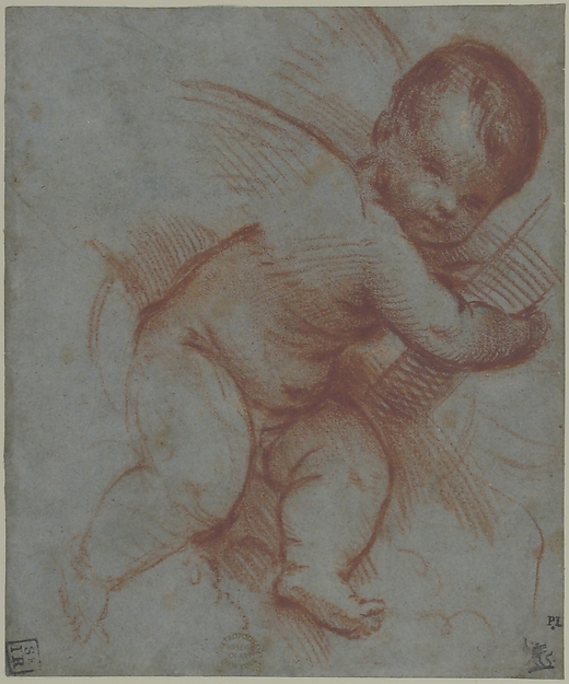 Winged Putto Holding the Base of a Cross