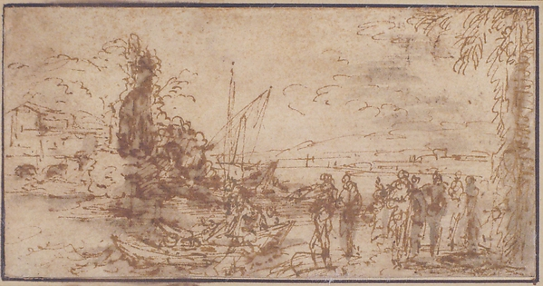 Marine landscape with figures