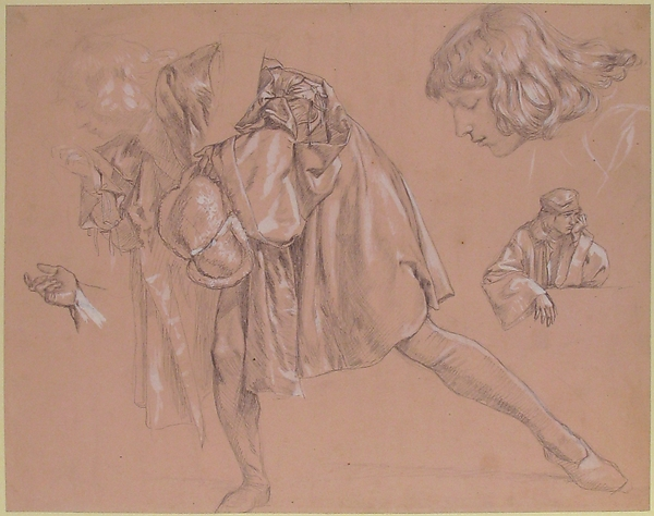 Study of a young man bending forward to kiss a hand, for the painting The Departure of the Prodigal Son (now lost)