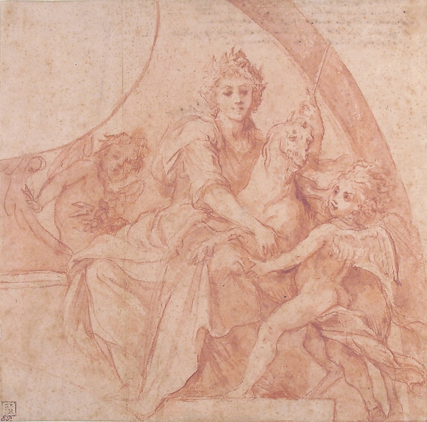 Allegorical Figure of Purity with a Unicorn and Two Putti (recto); Study of the Same Figures (verso)
