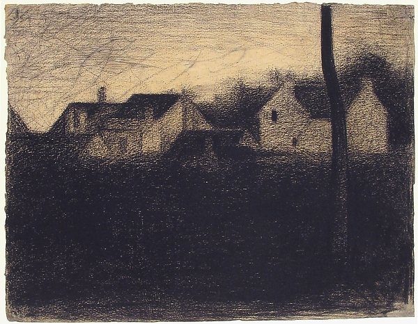 Fascinating Historical Picture of Georges Seurat with Landscape with Houses in 1881