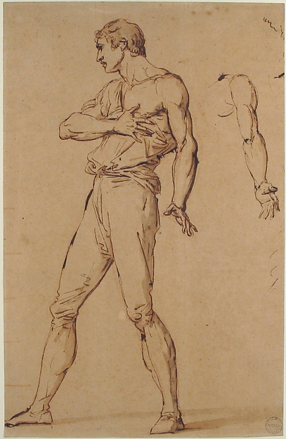 Standing Man with His Right Hand on His Chest