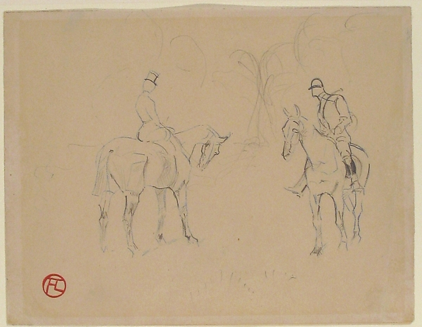 A Woman and a Man on Horseback