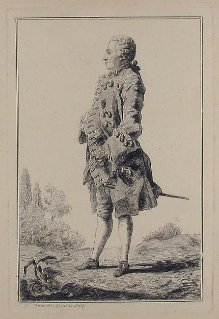 Fascinating Historical Picture of Louis de Carmontelle with Portrait of Pierre Victor baron de Besenval de Brnstatt (1722-1794) in 1759