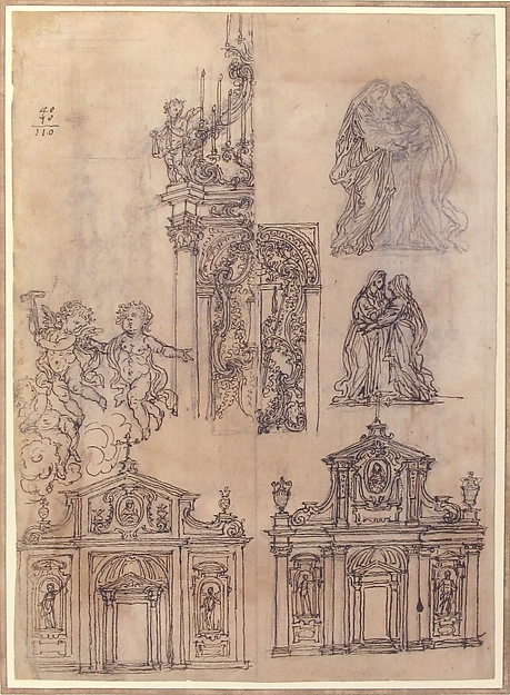 A Sheet of Studies with Architectural Motifs and Two Sketches for a Visitation (Recto). Sketch for a Funerary Monument (Verso)