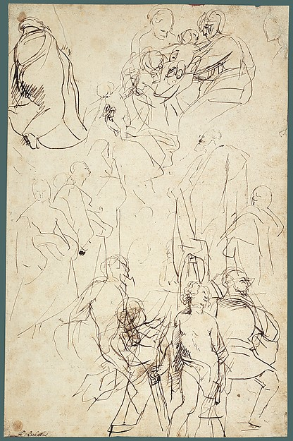 The Virgin Adored by Saints (recto); Study of the Torso Belvedere (verso)