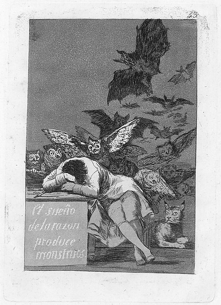 Plate 43 from 'Los Caprichos': The sleep of reason produces monsters (El sueño de la razon produce monstruos)