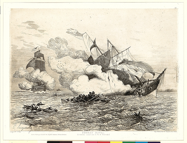 Combat Naval (L'Alabama coulant sous le feu de Kearsage)