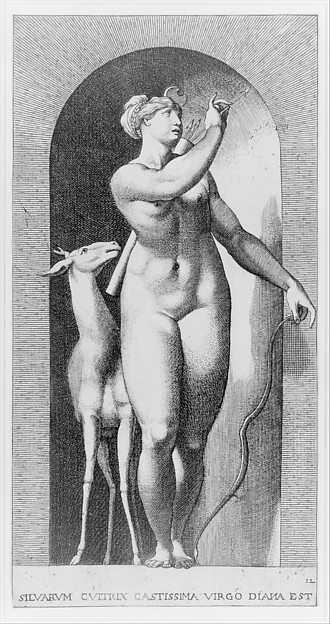 Plate 12: Diana standing in a niche, naked and pulling an arrow out of a quiver, with a deer to her right, from a series of mythological gods and goddesses