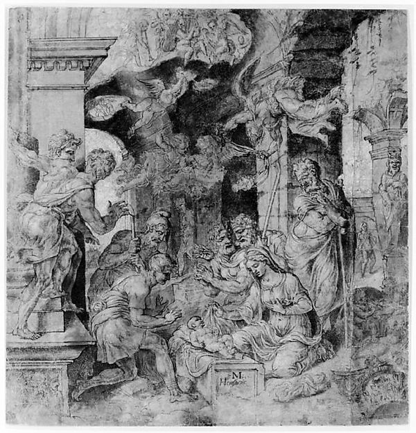 The Adoration of the Shepherds; verso: Sketches