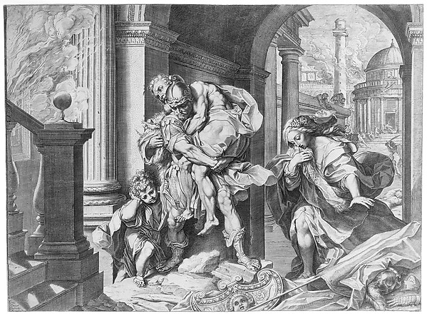 Aeneas and his Family Fleeing Troy