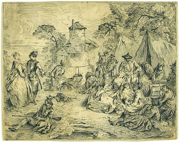Halte des Troupes (Soldiers and Women in an Encampment)