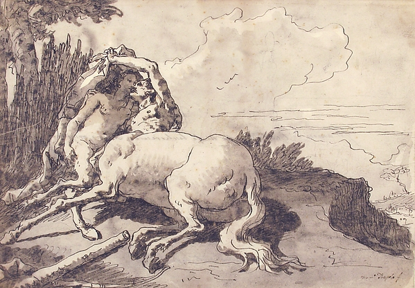 Centaur Embracing a Satyress