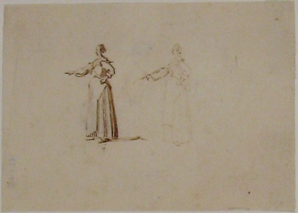 A woman with hand outstretched