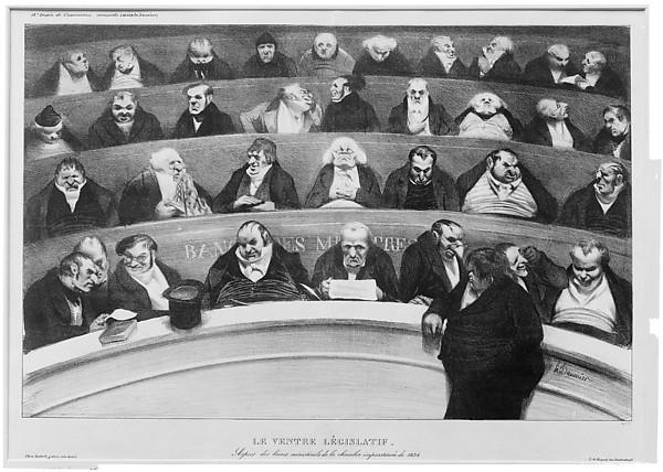 Le ventre législatif:  Aspect des bancs ministériels de la chambre improstituée de 1834