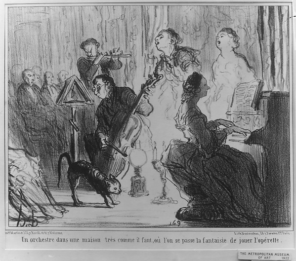 Fascinating Historical Picture of Honor Daumier with An Orchestra in a Fashionable Residence; plate 8 from the series Les Comdiens de Socit on 4/20/1858