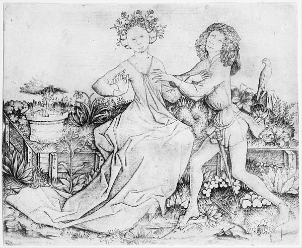 Pair of Lovers on a Grassy Bench