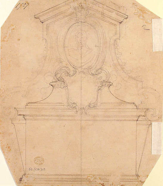 Design for a Tomb of Epitaph (recto); An Unfinished Variation of a Tomb or Epitaph (verso)
