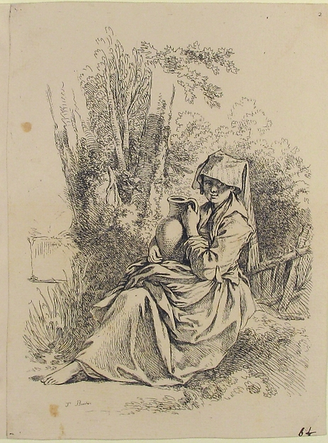 Fascinating Historical Picture of Franois Boucher with Seated Young Peasant Woman Holding a Jug from Nouveau Livre de diverse Figures (New Book of Various in 1751