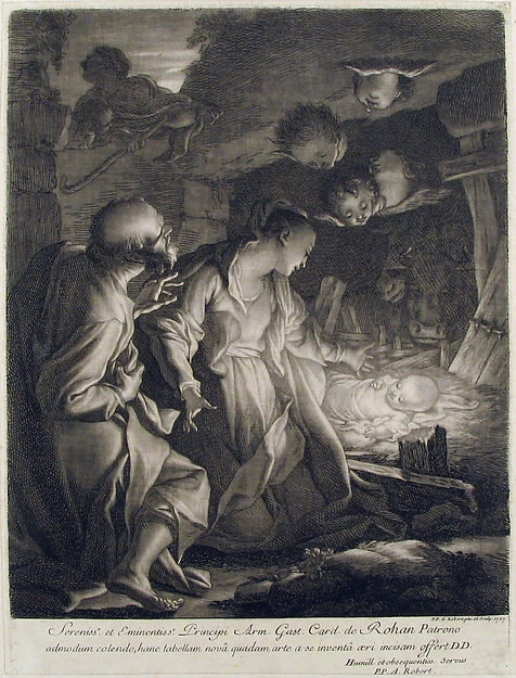 Fascinating Historical Picture of Paul Ponce Antoine Robert-de-Seri with Nativity in 1727