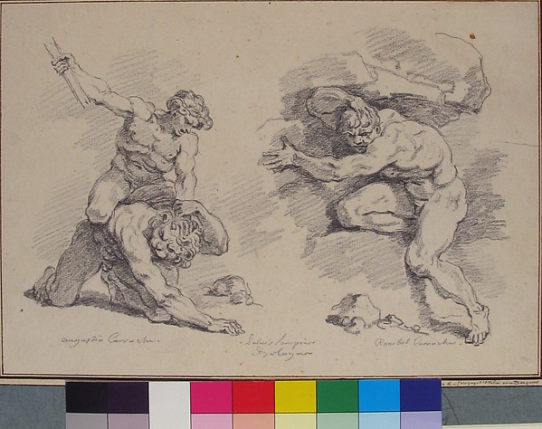 Hercules and Cacus, after Annibale Carracci; Destruction of Enceladus, after Agostino Carracci