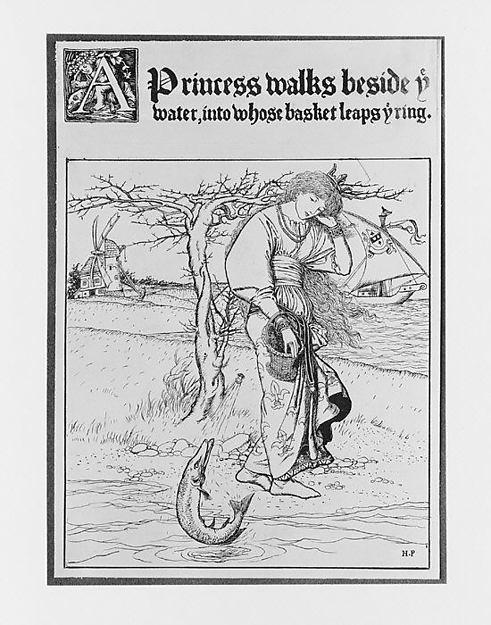The Wonder Clock: A Princess walks beside ye water, into whose basket ye ring