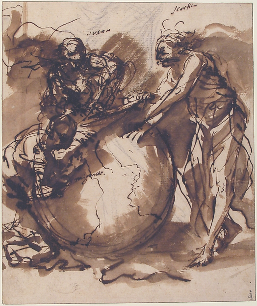 Three Figures around a globe
