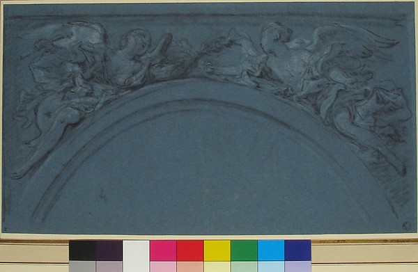 Design for two spandrels with winged figures