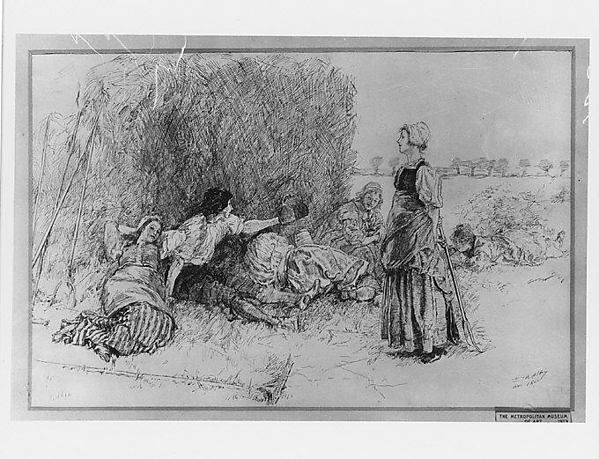 """Haymakers Resting, Illustration for """"The Leather Bottle"""""""
