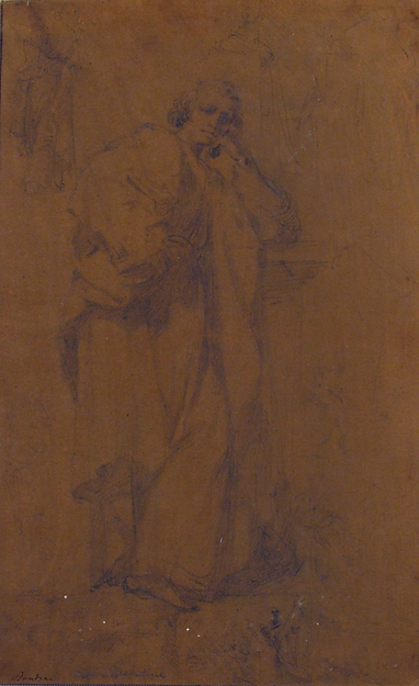 Standing Draped Male Figure, His Left Arm Resting on a Pedestal
