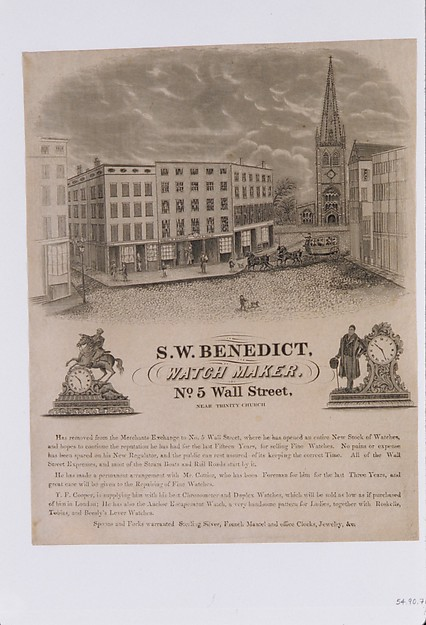 Tradecard of S. W. Benedict, Watchmaker, No. 5 Wall Street, New York
