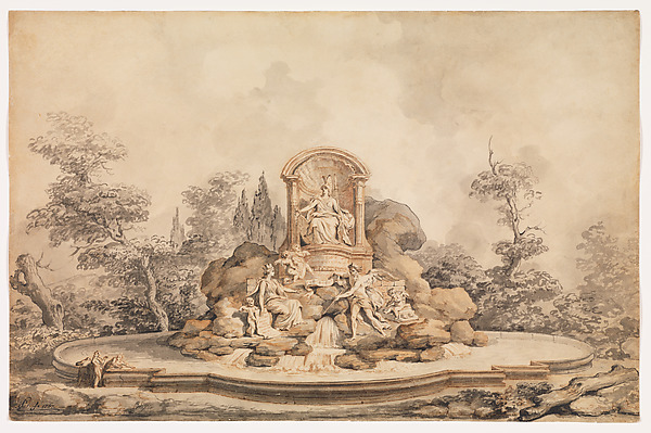 Fascinating Historical Picture of Augustin Pajou with Project for a Monumental Fountain in 1767