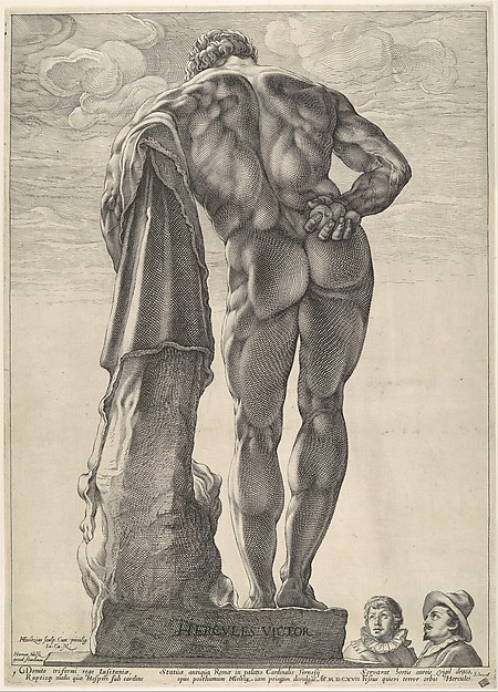 Fascinating Historical Picture of Hendrick Goltzius with Farnese Hercules in 1592