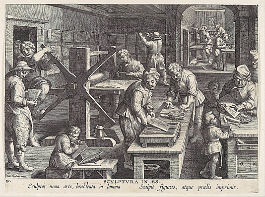 The Workshop of an Engraver [Sculptura in Aes], plate 19 from Nova Reperta