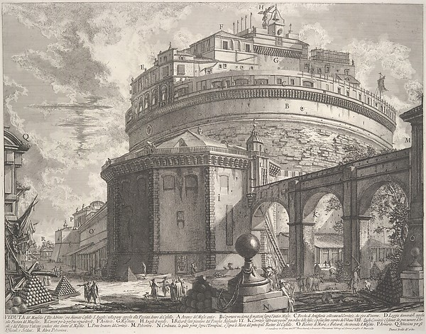 View of the Mausoleum of the Emperor Hadrian (now called Castel S. Angelo) from the rear, from Vedute di Roma (Roman Views)