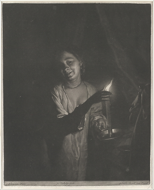 Young Woman Holding a Candle in a Bedchamber